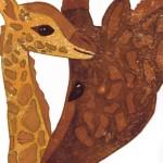 Giraffen Linoldruck